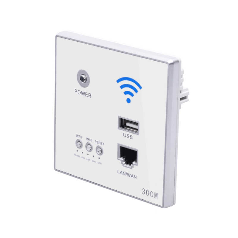 AAAJ-300Mbps enrutador de pared 110 V/220 V potencia Ap relé inteligente inalámbrico Wifi repetidor extensor pared incrustado 2,4 Ghz Router Panel Usb
