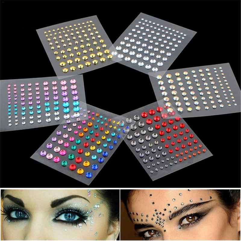 771617d6a ... Face Gems Jewels Crystal Sticker Eye Crafted Body Temporary Tattoo  Glitter For Female Party Make Up ...