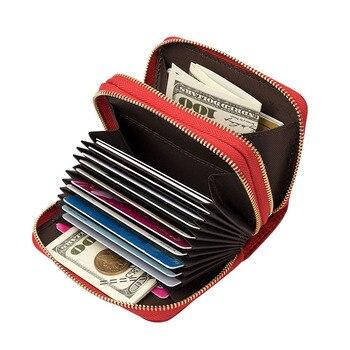 Mulheres de Couro Genuíno Fêmea Grande Capacidade de Cartão de Crédito Titulares B586-44 Travesseiro Organizador Cartão Da Bolsa Da Carteira Das Mulheres Dos Homens