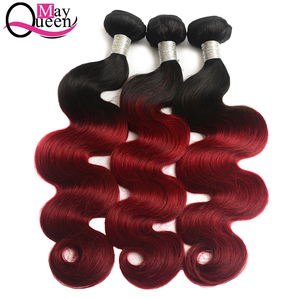 May Queen Hair Body Wave Ombre Bundles With Closure 3 Brazilian Hair Weave Bundles Remy Cuticle Aligned Weft 1B Burgundy in 3 4 Bundles with Closure from Hair Extensions Wigs