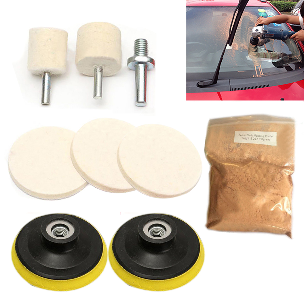 100g Ossieao Cerium Oxide Glass Polishing Kit Windscreen Scratch Remover Felt 3 Pad