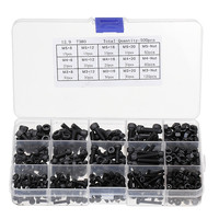 Suleve Black MXCH5 500Pcs M3 M4 M5 Carbon Steel Screw Hex Socket Cap Head 8 20cm Bolt Nut Furniture Fastener Assortment Kit