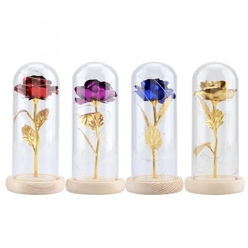 Flowers For Wedding Gift: Newest Preserve Rose Flower LED Light With Glass Cover