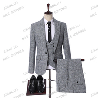 Latest Coat Pant Designs 2019 Custom Made Gray Fashion Casual Suits Slim Fit Terno Men Suit For Wedding Costume Homme Mariage