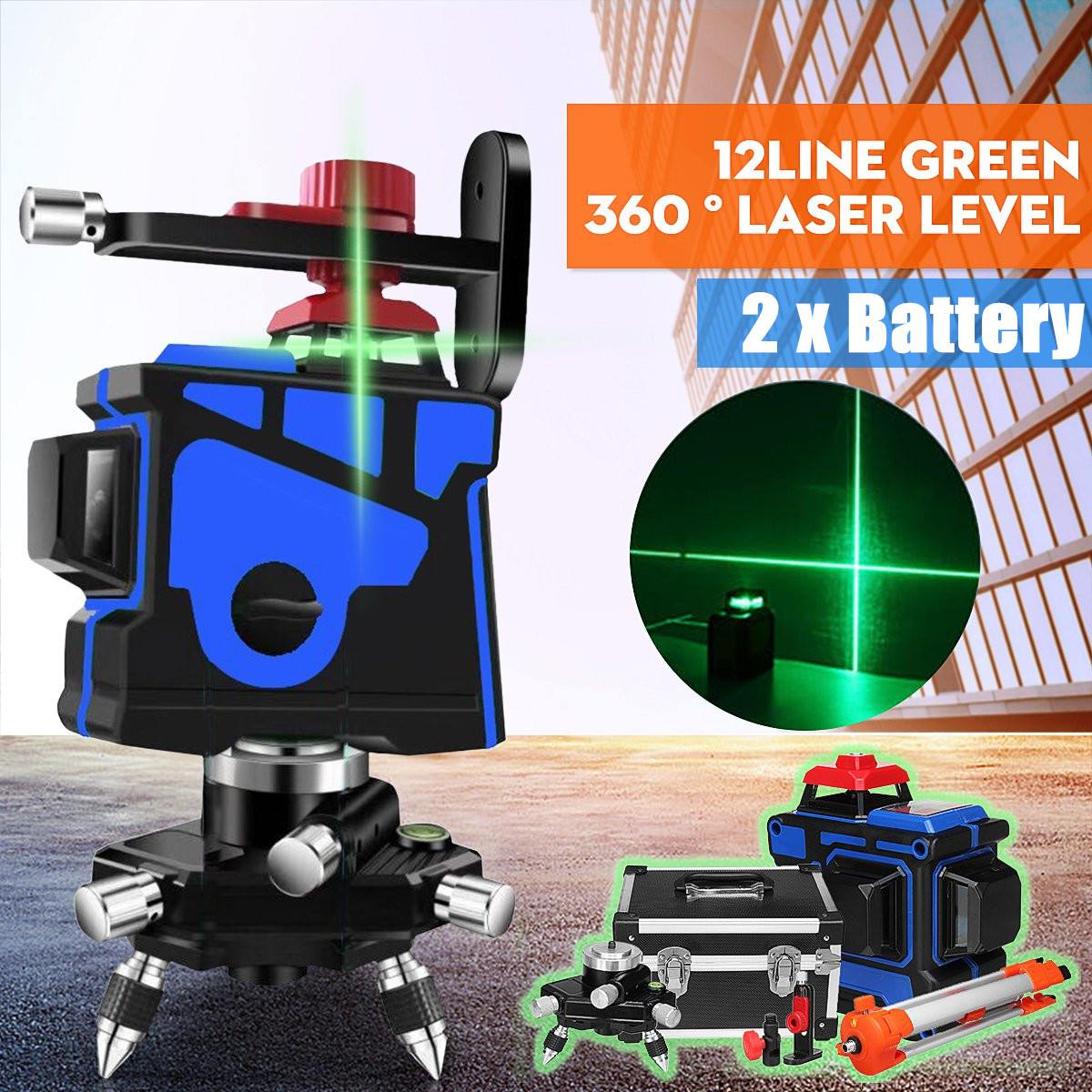 12 linea Verde a 360 Gradi Laser Livello di Supporti A Parete IP54 Auto Livellamento Orizzontale Verticale del Fascio Laser Con Il Treppiedi Indoor/ outdoor