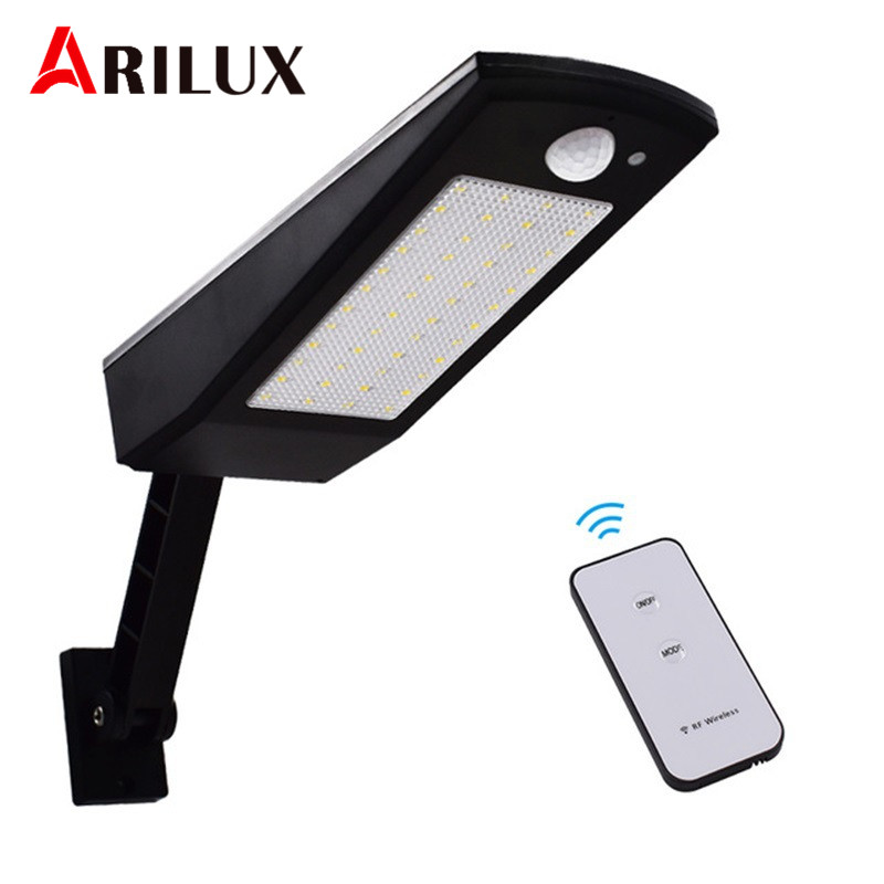 ARILUX Led Solar Light Outdoor Waterproof Lighting For Garden Wall 48 Leds Four Modes Rotable Pole Solar Lamp With Remote Contro