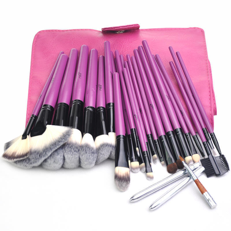 24pcs Pro Makeup Brushes Set Foundation Makeup Brush Kit Synthetic Hair with PU Leather Case soft synthetic makeup brushes set 12 pieces makeup tools kit pink with case