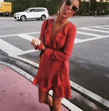 купить 2019 V-neck Ruffled Polka Dot Mini Dresses Women Summer Sexy Long Sleeve A-line Short Dress Elegant Female Empire Beach Dress по цене 918.35 рублей
