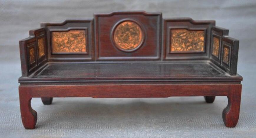 Vieux bois de séquoia chinois sculpture antique repos sommeil meubles lit Statue