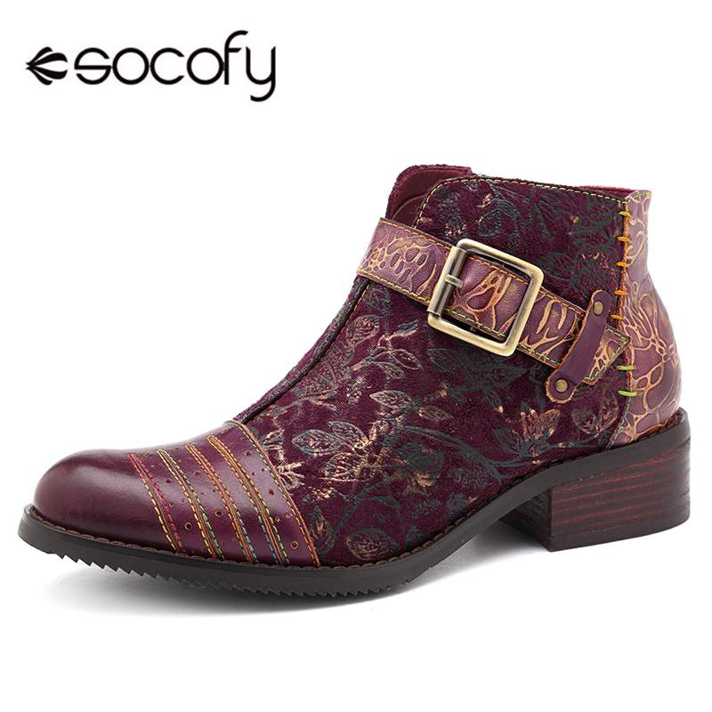 Socofy Retro Bohemian Boots Women Shoes Woman Spring Autumn Cow Leather Motorcycle Boots Zipper Chunky Heel Ankle Shoes 2020