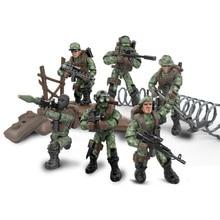 6 стилей, набор мини-солдатиков, фигурки со строительными блоками, оружейный армейский совместим со всеми основными брендами, Военная серия, подарок для детей