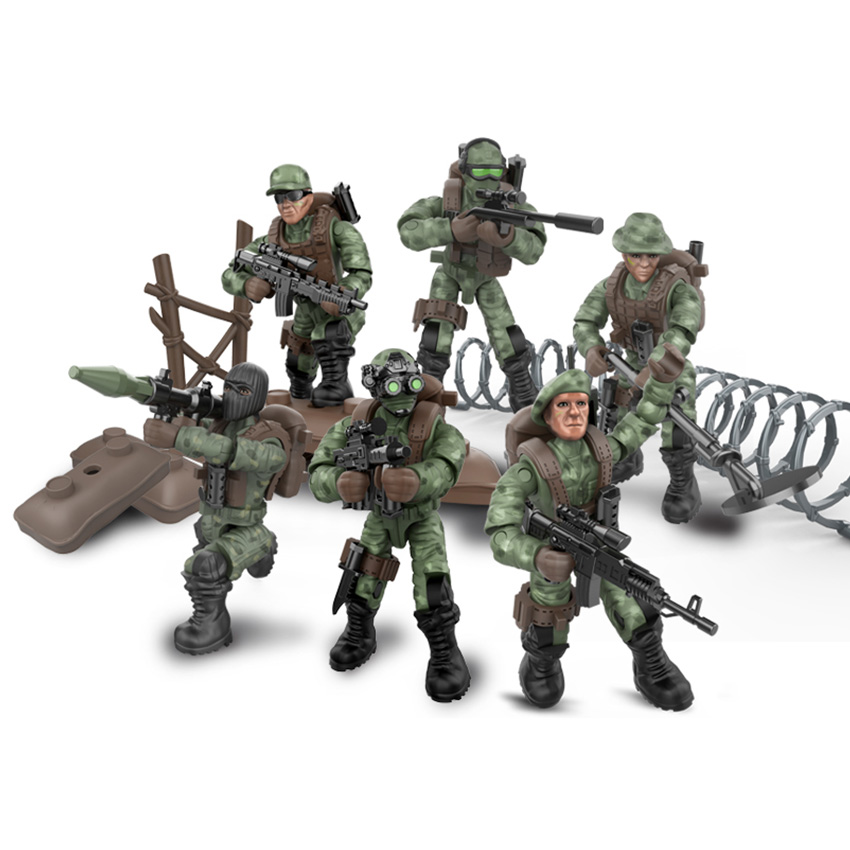 6 Style Mini Soldier Set  Figurines With Building Blocks Gun Army Compatible All Major Brands Military Series Gift For Chirldren