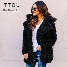 TTOU Women Casual Faux Fur Coat Thicken Winter Fake Fur Surcoat Pink Black Greatcoat Fashion Streetwear Cardigan Outerwear