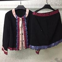 Модные 2 комплекта для женщин куртка и юбки утолщаются офисные женские туфли шерсть теплые женский комплект 2 шт.