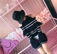 Cold Shoulder Striped Ruffle Knitted Sweater Women Soft Sexy Sweater Pullover Flare Sleeve Casual Jumper