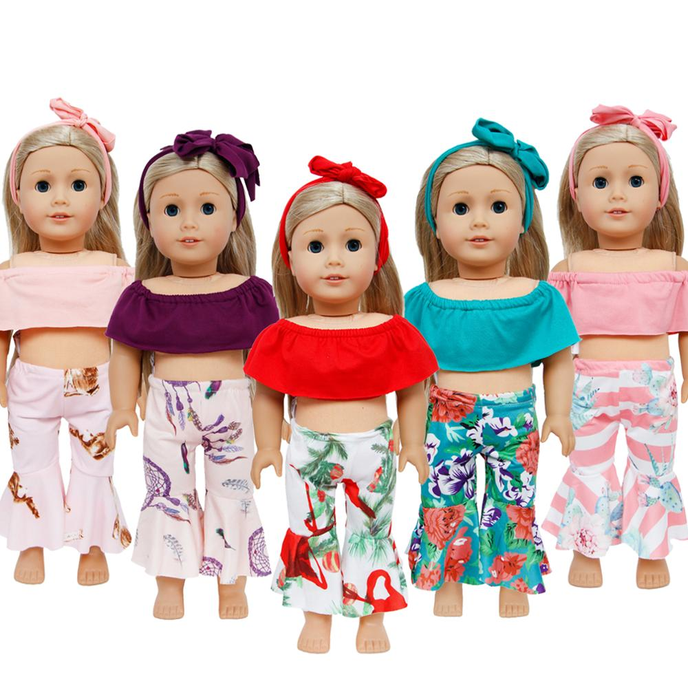 "Handmade One Set Flat Shoulders Hair Band Bottom Trousers Pants Clothes For American Girl Doll 18"" Puppet Toy Accessories Gift"