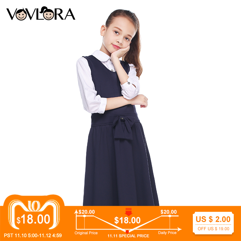 Kids School Dress V Neck A Line Sleeveless Girls Dress Solid Knitted Bow Children Clothes Casual 2018 Size 7 8 9 10 11 12 Years все цены