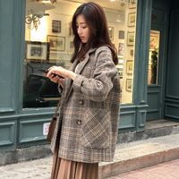 Woolen Coat Thick Sprat Full Sleeve Pockets Tweed Plaid Double Breasted Suit Winter Korean Womens Plus Size Fashions