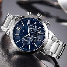 MINI FOCO Clássico Relógio De Quartzo Negócio Homens Cinta de Aço Inoxidável Sub-dial 6 3 Mãos Chronograph Mens Relógios Top marca de Luxo
