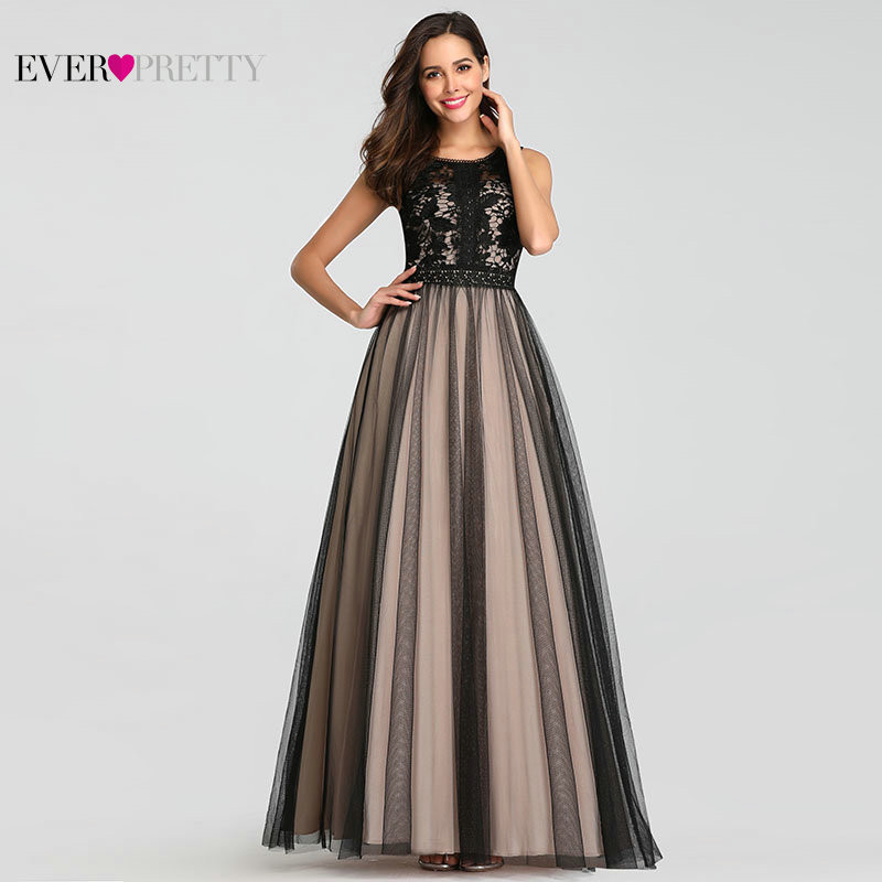 Black   Prom     Dresses   2019 Ever Pretty Elegant A Line O Neck Sleeveless Lace Long Formal Party Guest Gowns Plus Size Robes De Bal