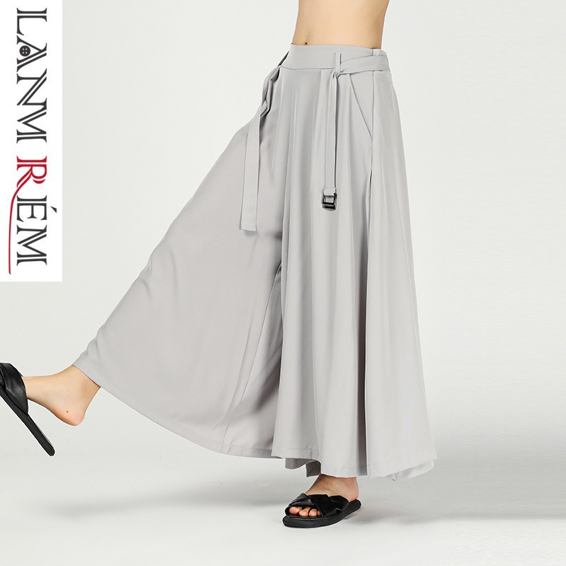 LANMREM 2019 New Spring Summer Bandage Waist Trousers Fashion For Women Vintage Loose Casual   Wide     Leg     Pants   Female Vestido ZA459