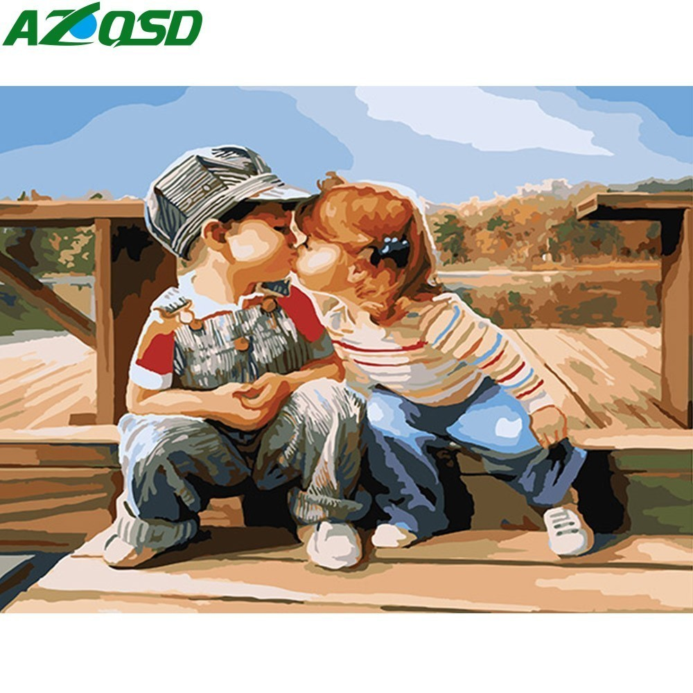 AZQSD Painting By Numbers Cartoon Modern Hand Painted Oil Painting Children Paint Canvas Picture DIY Scenery Home Decor K075