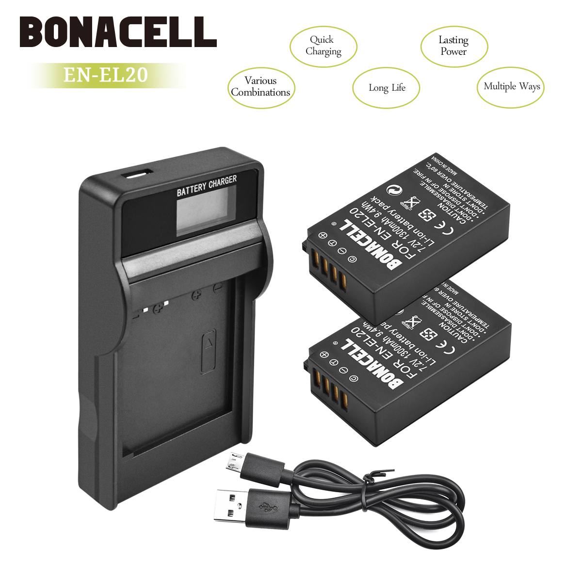 Bonacell 7.2V 1300mAh EN-EL20 EN EL20 ENEL20 Camera Battery+LCD Charger For Nikon EN-EL20a 1 J1 J2 J3 S1 Digital Camera L10