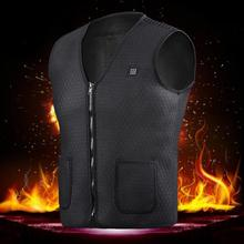 Men Women Outdoor USB Infrared Heating Vest Jacket Winter Flexible Electric Thermal Clothing Waistcoat For Sports Hiking(China)
