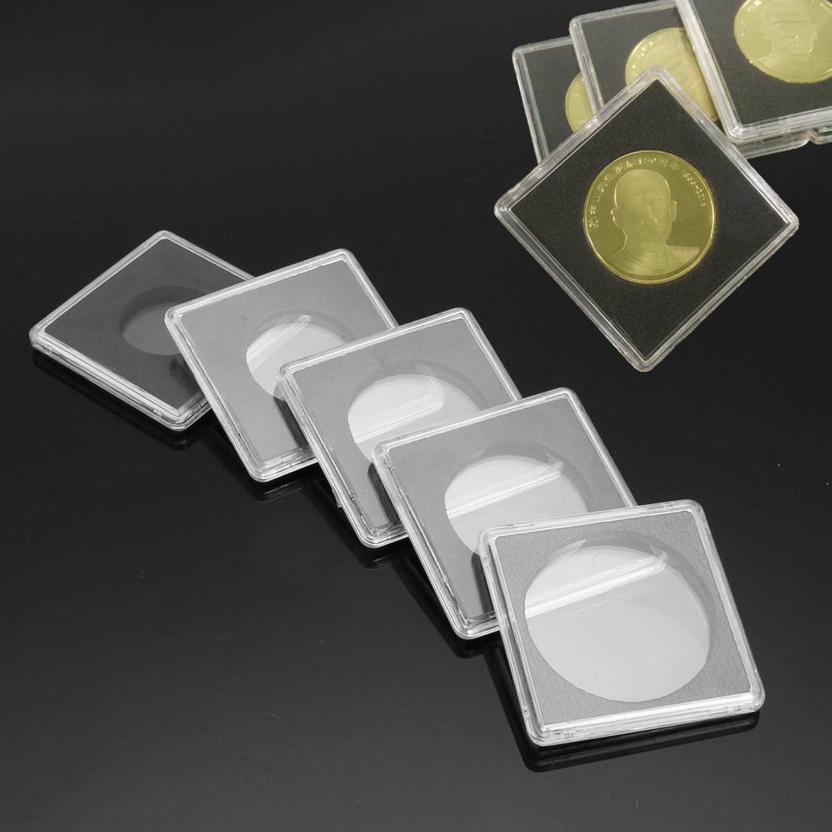 10PCS Plastic Square Coin Holder Capsules Container Coin Transparent Gaine Small Round Coin Collection Boxes Display 24mm-40mm