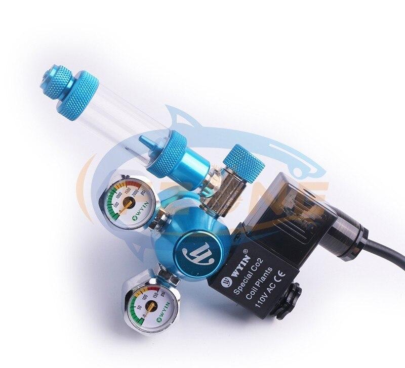 Chihiros acuario Wyin Mini doble calibre CO2 regulador con válvula de contador de burbujas de válvula de solenoide y Kits de instalación - 6