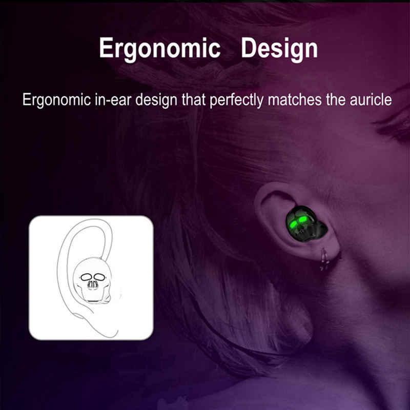 Nowa czaszka Bone Bluetooth słuchawka z mikrofonem redukcja szumów Hi-Fi zestaw głośnomówiący bas stereo Mini słuchawka douszna