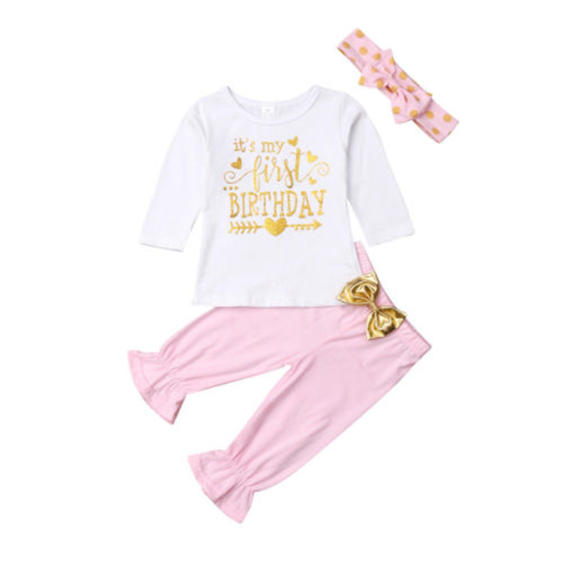 Baby Girl First Birthday Outfits Clothes T shirt Tops Long Pants 3PCS New Baby Girl Clothes Happy Birthday Long Sleeve Set