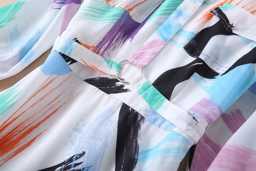 Runway Designer 2019 Frühling Sommer Kleid frauen Hohe Qualität Lange Hülse Bunte Gedruckt Dame Maxi Hemd Kleid - 4
