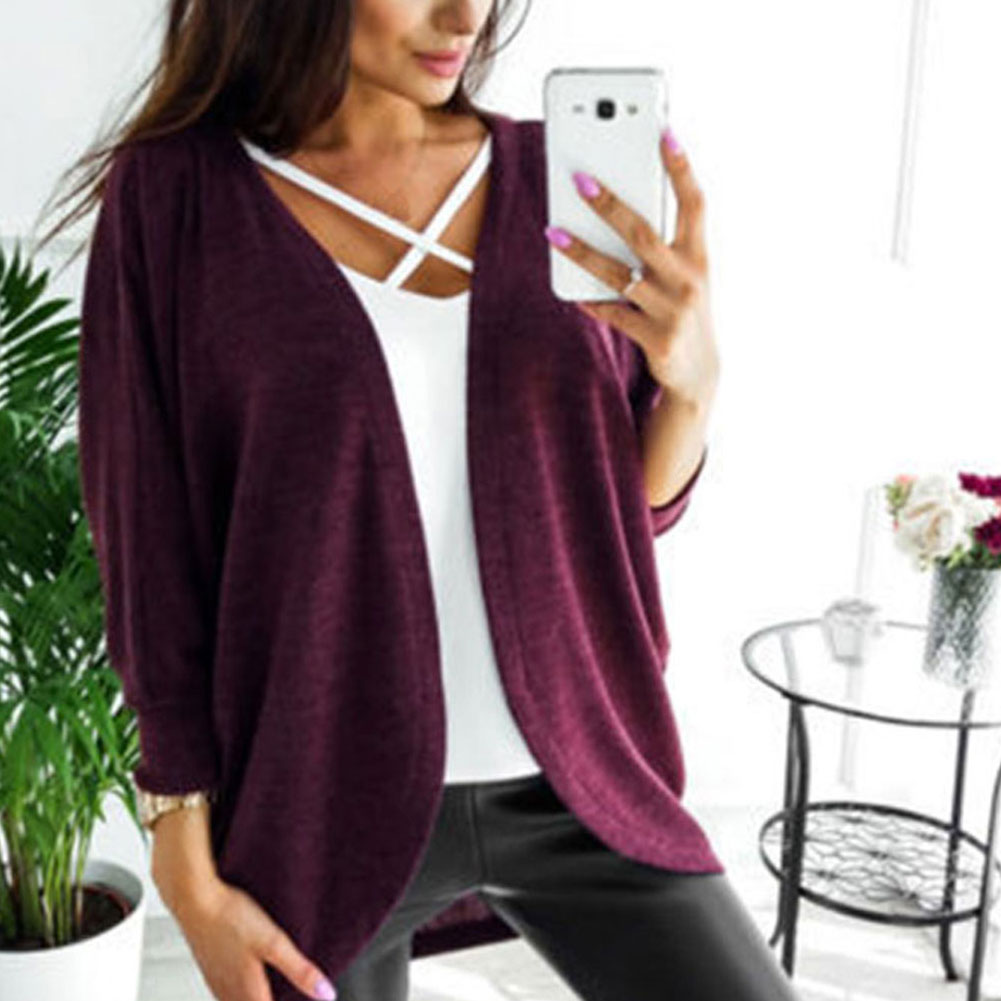 New Women Autumn Loose Batwing Sleeve Sweater Loose Cardigan Solid Outwear Coat