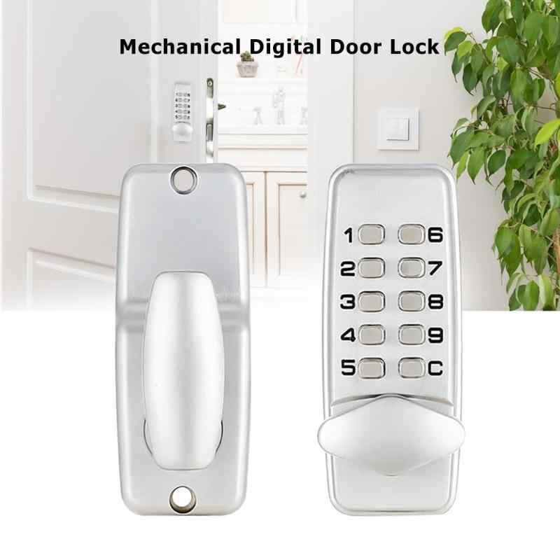 Mekanik Kunci Pintu Digital Paduan Seng Tahan Air Bebas Karat Keyless Push Tombol Tanpa Kunci Kombinasi Kode Kunci 107*44*22 Mm