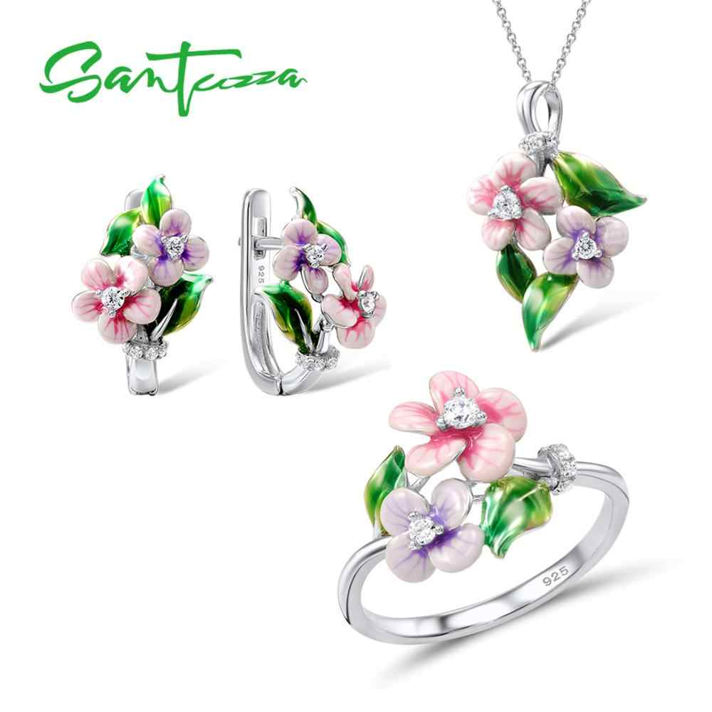 SANTUZZA Jewelry Set For Women 925 Sterling Silver Delicate Pink Flower CZ Ring Earrings Pendent Fashion Jewelry HANDMADE Enamel
