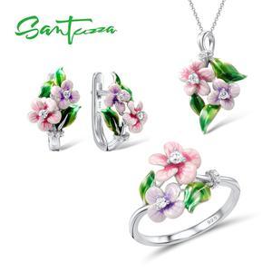 Image 1 - SANTUZZA Schmuck Set Für Frauen 925 Sterling Silber Zarten Rosa Blume Ring Ohrringe Anhänger Mode Schmuck HANDMADE Emaille