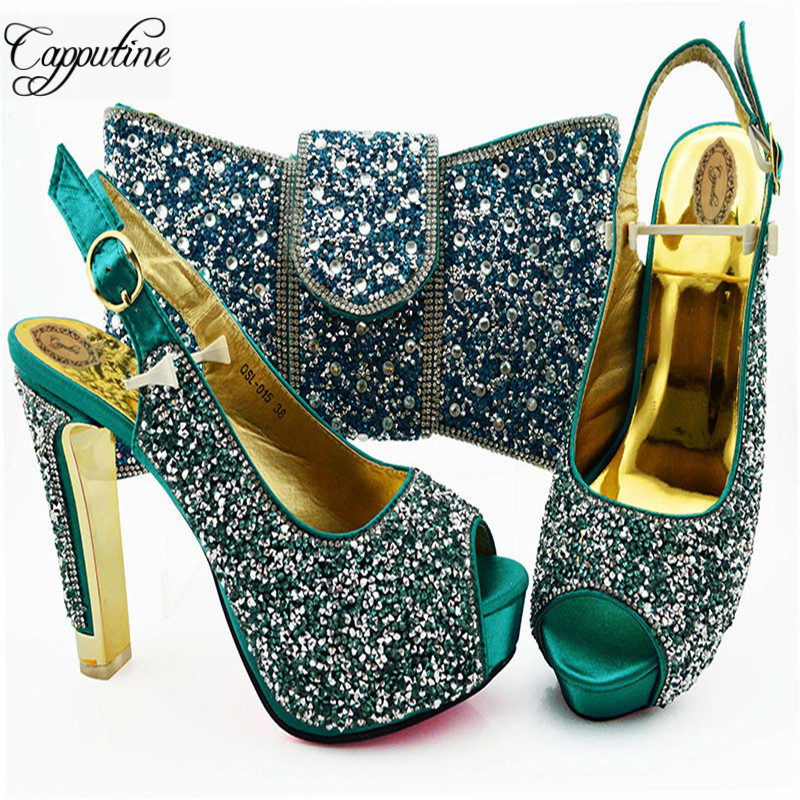 African Summer Teal Color Woman High Heels Shoes And Bag Set For Party Fashion Summer Rhinestone Shoes And Bag Set SL015African Summer Teal Color Woman High Heels Shoes And Bag Set For Party Fashion Summer Rhinestone Shoes And Bag Set SL015