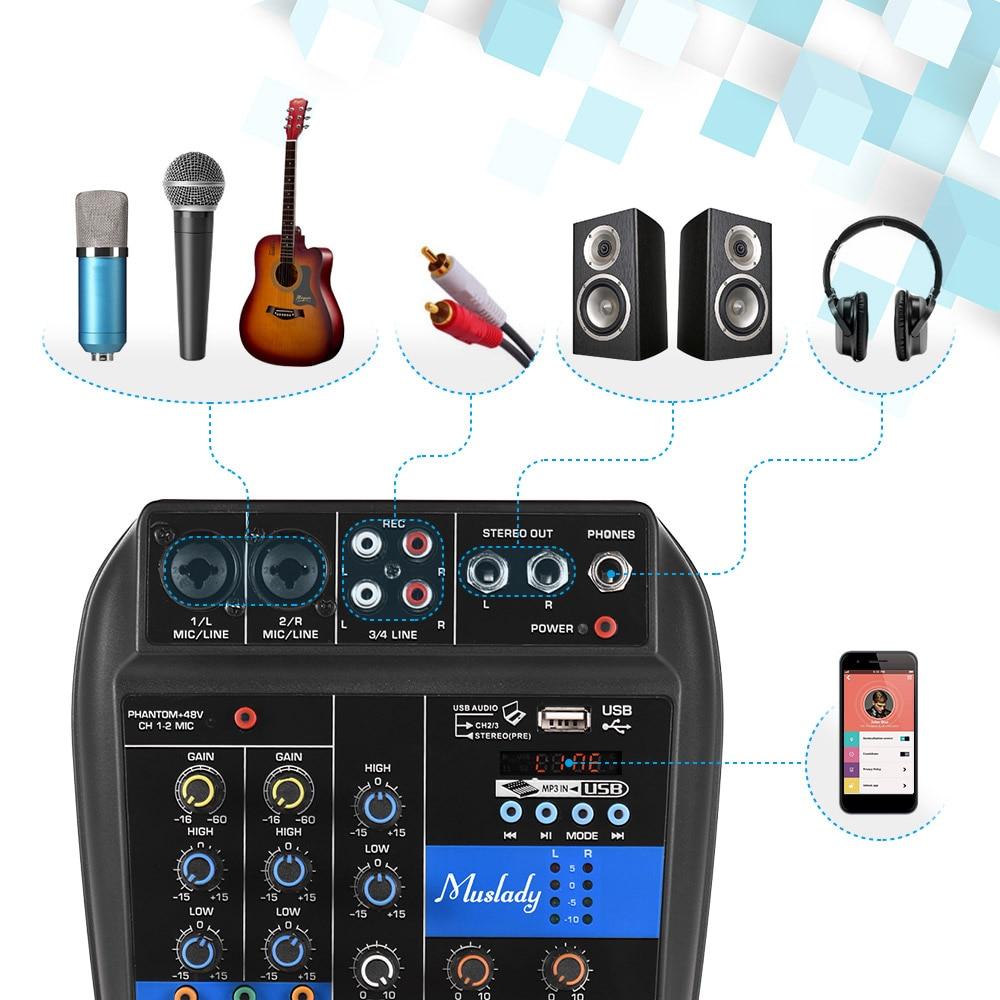 Muslady BT Mixing Console Digital Audio Mixer Reverb Effects 48V Phantom Power 2 band EQ DC