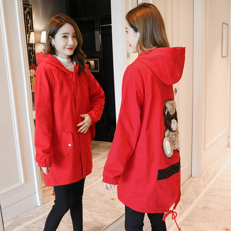 Pregnant Women Coat New Winter Long Loose Coat Korean Version Of The Cartoon Print Pregnant Women Thick Warm Loose Jacket Casaco pregnant women autumn and winter new windbreaker jacket pregnant women loose casual jacket pregnant women long cotton coat