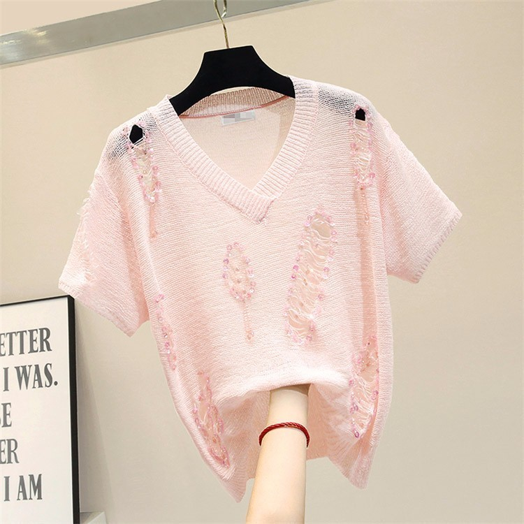 2019 summer loose hollow out sequins short sleeve t shirt women Ice silk knitted tops 2colors