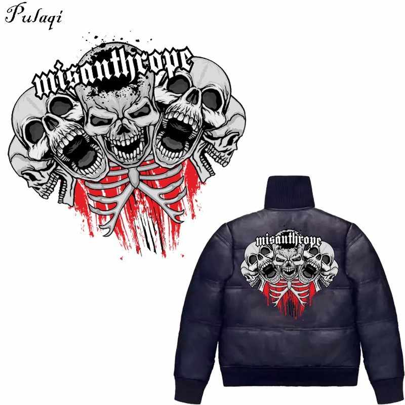 Pulaqi ที่กำหนดเองราคาถูกเหล็กเกี่ยวกับการโอนสำหรับเสื้อผ้า Iron-ON ความร้อน THERMAL Transfer สติกเกอร์ Skull Patch ชิลี Badge Applique H