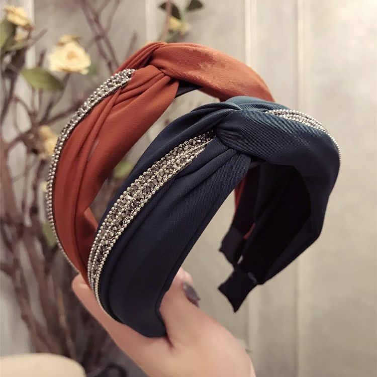 Koreański fashion opaska turban na głowę z szerokim rondem tkanina wiązana drukuj hairband fwomen elegancka wstążka nakrycia głowy turban akcesoria do włosów