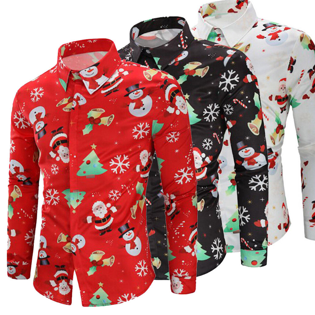 Hirigin Mens Harajuku Christmas Xmas 3D Printing Long Sleeve Casual Blouse Shirt Tops Tee Shirts Outwear Luxury Boy Clothing