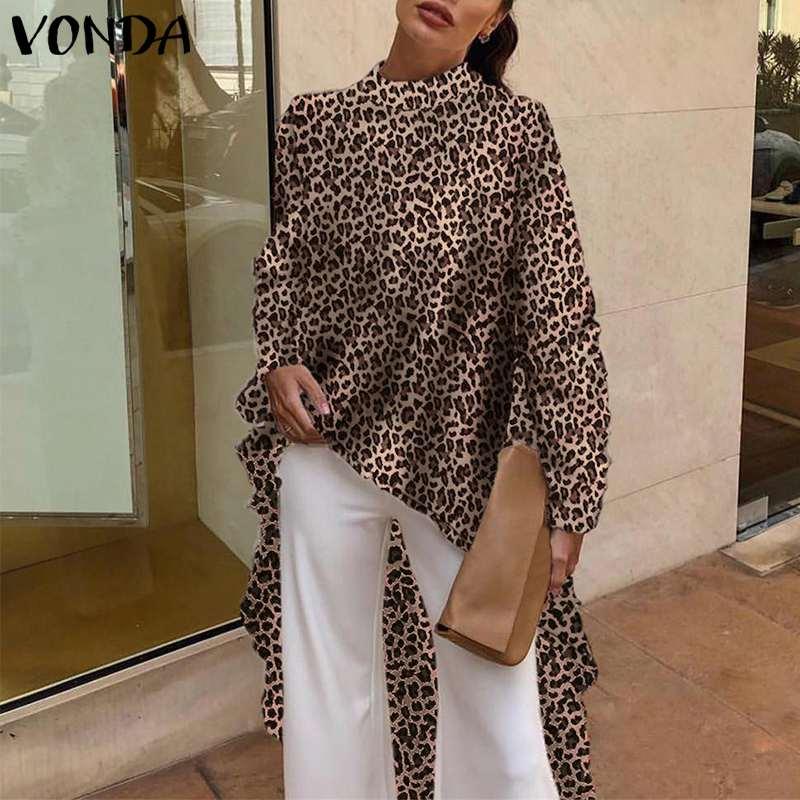 VONDA 2019 Women Leopard Blouses Sexy Long Sleeve Vintage Print Blouse Female Office Shirt Loose Asymmetrical Long Top Plus Size