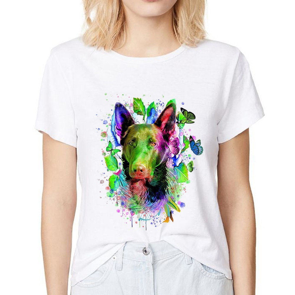 colorful German Shepherd <font><b>dog</b></font> funny t shirt women summer new white casual color <font><b>art</b></font> cat <font><b>tshirt</b></font> femme image