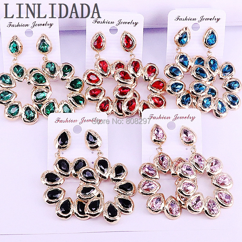 5Pair Wholesale New Style Fashion Flower Shape Elegant Mix Color Crystal Generous Drop Earrings for women