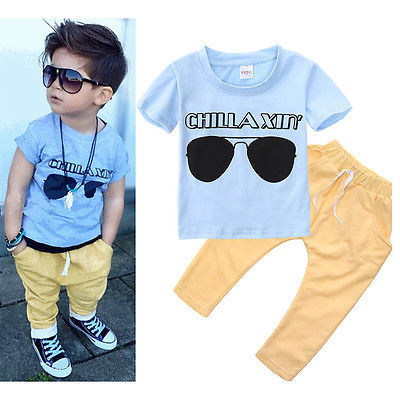 2 pieces Short-sleeve T-shirt and Pant Set For Toddler Boy Summer Clothes Boys Clothing Sets