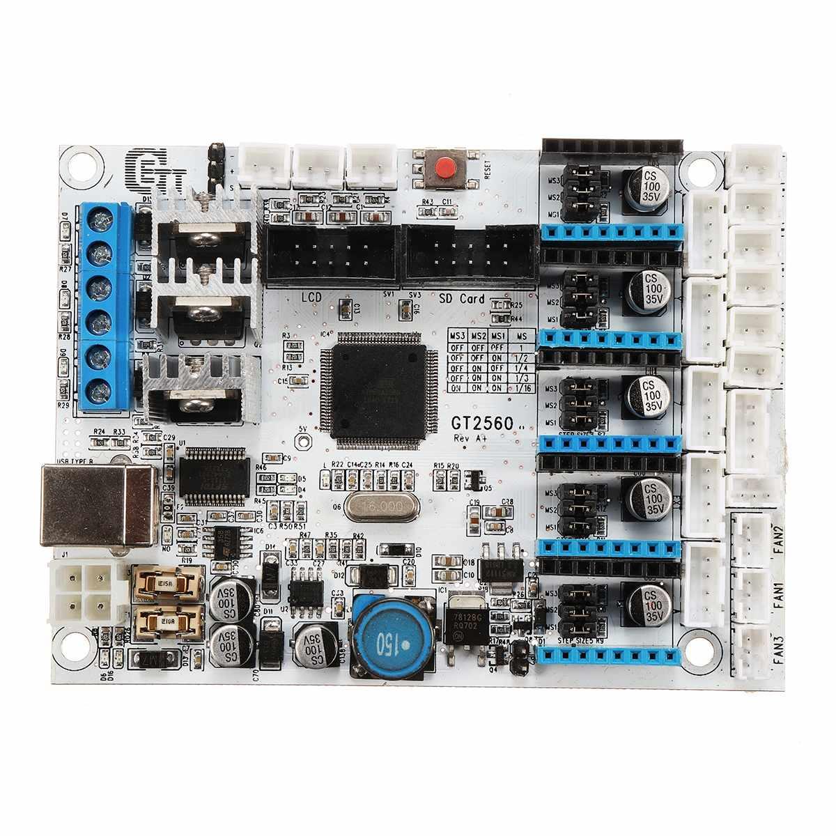 Placa de Controle Placa Controladora Da Impressora 3D GT2560 5 motores de passo para ATMEGA 2560 I3 Delta 16 mhz 3D Placa Da Impressora