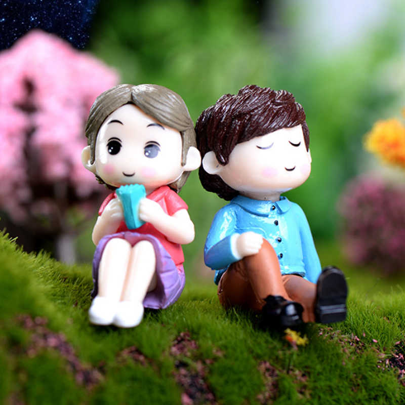 2 PCS/1 ชุดตกแต่งบ้านหัตถกรรม Fairy Garden คนรัก Figurines คู่คุณภาพสูง Miniatures ยอดนิยมเรซิ่น Sweety ร้อนขาย